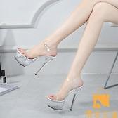 超高跟涼鞋宴會女鞋 性感透明防水臺鋼管舞水晶鞋 15CM超細【慢客生活】