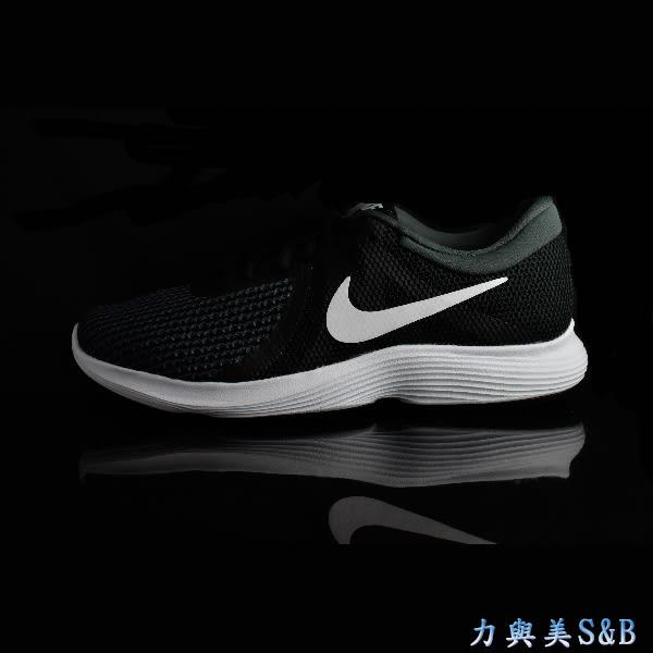 NIKE 女慢跑鞋 簡約設計 舒適好穿 WMNS NIKE REVOLUTION 4 黑灰色鞋面+白色LGOG 【7657】