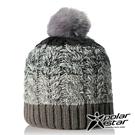 【PolarStar】女 漸層編織保暖帽『灰』P18604 毛球帽 素色帽 針織帽 毛帽 毛線帽 帽子
