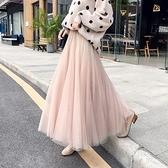 小西裝配紗裙女夏2021新款仙女長裙高腰中長款大擺網紗半身裙子 【端午節特惠】