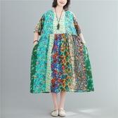 洋裝連身裙~棉麻洋裝~胖MM棉麻民族風V領喇叭袖連身裙 5F005愛尚布衣