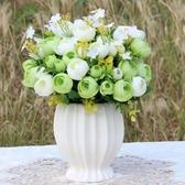 歐式仿真花束玫瑰絹花套裝擺件客廳室內裝飾擺件餐桌塑料假花干花