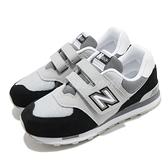 New Balance 休閒鞋 NB 574 Wide 寬楦 灰 黑 童鞋 中童鞋 麂皮 運動鞋 【ACS】 YV574NLCW