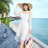波希米亞長裙-海邊渡假雪紡露肩洋裝2色73sg39【巴黎精品】