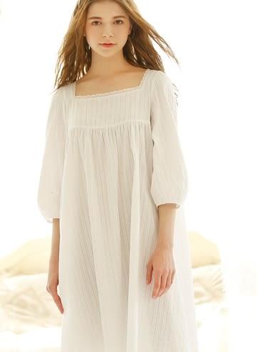 夏季新款純棉韓版純白公主睡裙復古宮廷居家服睡衣夏女士 -nig001007