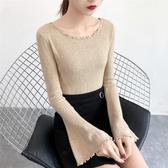 木耳邊喇叭袖針織衫修身毛衣長袖純色打底衫外穿女上衣
