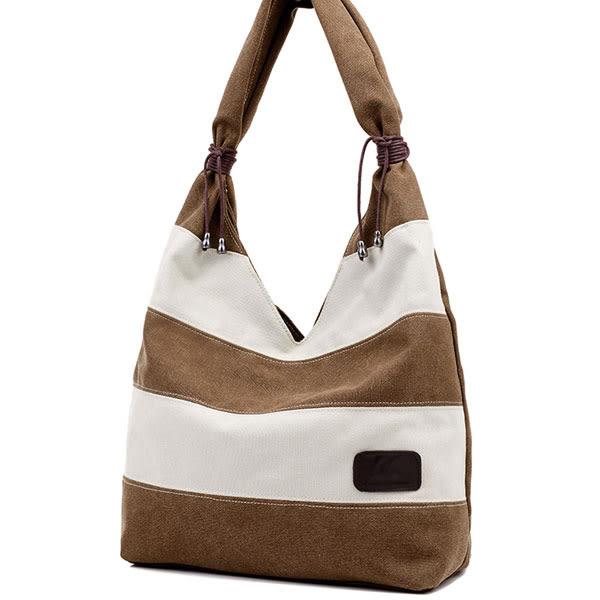 簡約時尚 優質雙色拼接帆布 肩背 手提包包 F021a ◆ 韓妮小熊