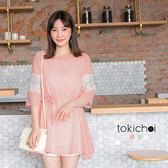 東京著衣-蕾絲袖拼接雪紡附綁帶洋裝-XS.S.M(6010554)