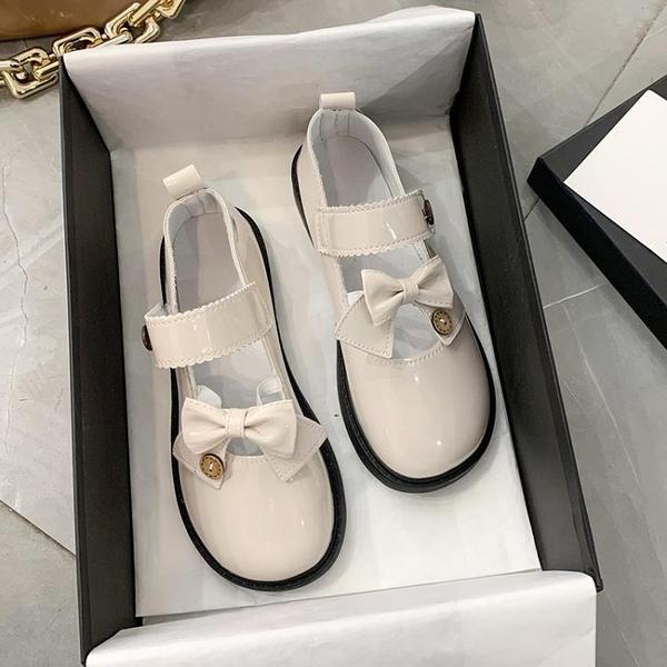 牛津鞋 可愛少女心蝴蝶結百搭女鞋2021新款學院風瑪麗珍鞋原宿風小皮鞋潮 歐歐
