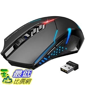 [9美國直購] 滑鼠 VicTsing Wireless Gaming Mouse with Unique Silent Click, Breathing Backlit, 2 Programmable Side Buttons