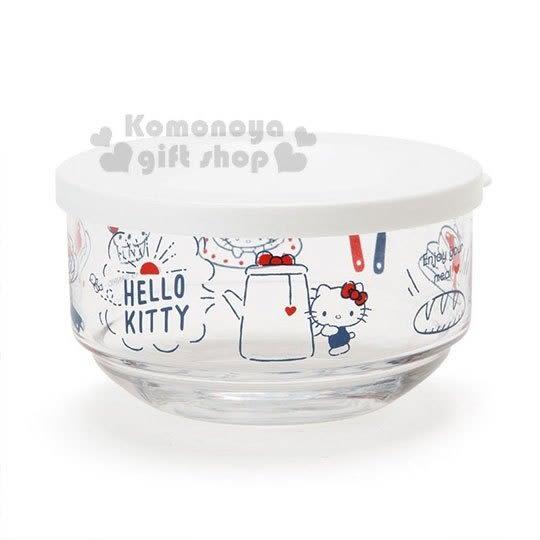 〔小禮堂〕Hello Kitty 日製矽膠蓋玻璃保鮮碗《白》保鮮罐.保鮮盒.2019新生活系列 4901610-80772