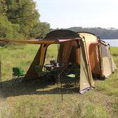 戶外家庭野營一房一廳帳篷防暴雨4-6-8人多人露營雙層兩房大帳篷   初見居家
