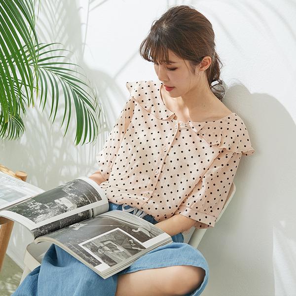 【慢。生活】荷葉領波點薄款襯衫 327 FREE杏粉