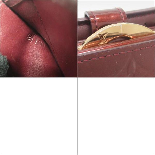 LOUIS VUITTON LV 路易威登 酒紅LOGO壓紋漆皮零錢釦雙開中夾 M93521 【BRAND OFF】
