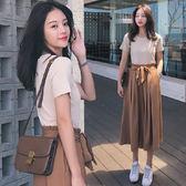 小個子氣質高冷御姐輕熟風洋氣網紅很仙闊腿褲兩件套裝女夏季時尚 ℒ酷星球