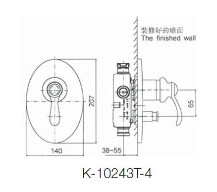 【麗室衛浴】美國 KOHLER  Fairfax  附切換式面板外殼 (鉻) K-10243T-4-CP