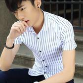 短袖條紋襯衫 時尚潮流修身襯衣男士青年條紋《印象精品》t325