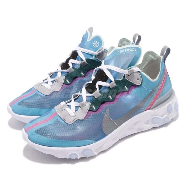 Nike React Element 87 Royal Tint 藍 白 緩震回彈 透明鞋面 男鞋 運動鞋【PUMP306】 AQ1090-400