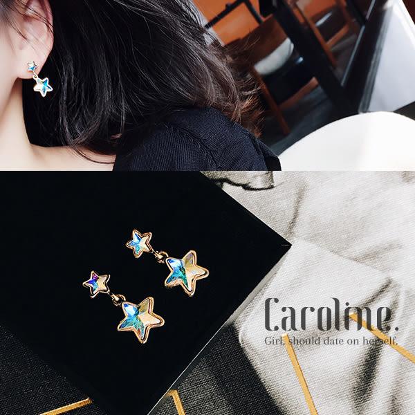 《Caroline》★韓國官網熱賣獨家訂製款百搭幻彩水晶星星優雅浪漫風格時尚流行耳環69449