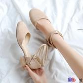 【貝貝】露趾涼鞋 包頭涼鞋女夏平底粗跟單鞋韓版小清新百搭復古仙女鞋