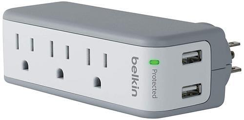 【美國代購】Belkin 3插座USB電湧保護器帶旋轉插頭