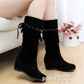 中筒靴女平底休閒女短靴子女士坡跟高筒長靴冬季加絨內增高女鞋潮  (pink Q時尚女裝)
