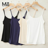 Miss38-(現貨)基本款四色 純棉 打底 內搭 可調肩帶 背心 吊帶 小可愛【A01109】-中大尺碼