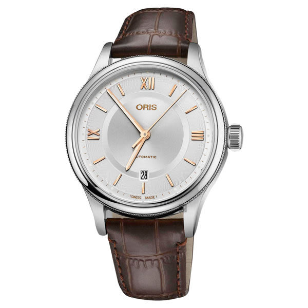 Oris豪利時 Classic 文化系列日期機械錶-銀x咖啡錶帶/42mm 0173377194071-0752032