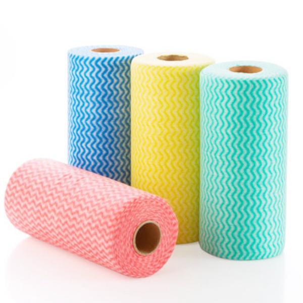 撕式不織布免洗抹布 餐巾紙 免洗紙巾 捲筒直立式 1捲50片 一次性 不織布 抹布 餐巾紙 隨機顏色