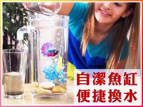 桌面魚缸 自動換水 懶人魚缸 方形魚缸 小魚缸 鬥魚缸 圓形魚缸 魚缸 生態缸 水族 居家辦公