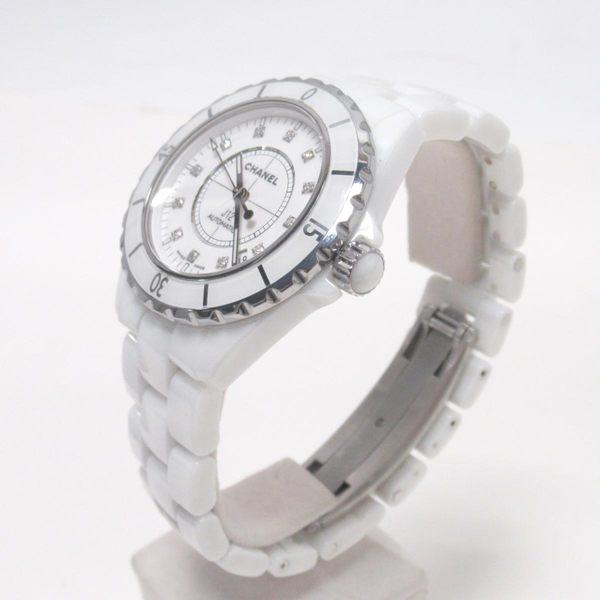 CHANEL 香奈兒 白色陶瓷鑲12P鑽機械錶 J12 H1629 38mm 【二手名牌 BRAND OFF】