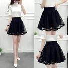 黑色蕾絲紗裙半身裙女春夏季褲裙鬆緊腰蓬蓬裙高腰網紗打底裙短裙 洛小仙女鞋