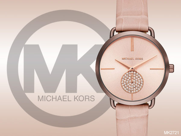 【時間道】MICHAEL KORS現代古典美學仕女腕錶 / 玫瑰金面咖啡金殼粉紅皮 (MK2721)免運費