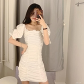 WMXZ 2021新女裝歐美范復古一字領修身褶皺設計泡泡袖洋裝 米娜小鋪
