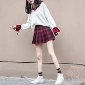 紅色百褶裙套裝兩件套女格子短裙搭配毛衣半身裙子【少女顏究院】