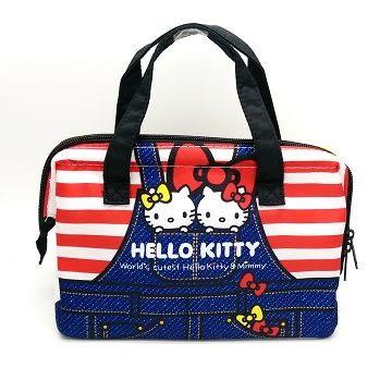 日本 skater 保冷便當袋 收納袋 Hello Kitty-牛仔(0353)-超級BABY
