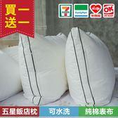 可超取【買一送一】3D立體雙車邊可水洗羽絲絨枕/純棉表布(附不織布收納袋)五星級飯店枕