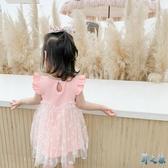 女童連身裙夏裝2020新款洋氣夏季蓬蓬紗超仙公主紗裙兒童裙子夏款 FX8410 【野之旅】