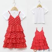 兒童夏季吊帶裙女童連身裙雪紡露肩波點蛋糕裙【淘夢屋】