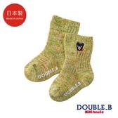 DOUBLE_B 日本製 黑熊針織男童襪(綠)