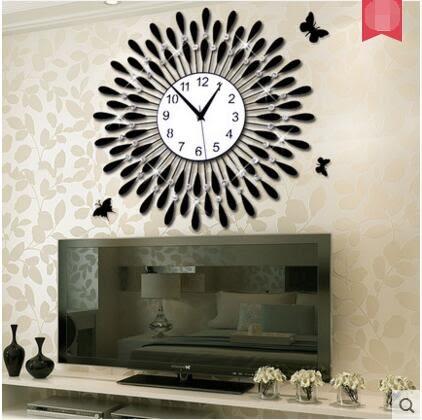 美世達鐘錶掛鐘客廳現代簡約歐式靜音石英鐘(16英吋2個顏色)