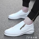 男懶人鞋韓版一腳蹬內增高男鞋潮男鞋子發型師白色潮鞋   伊鞋本鋪