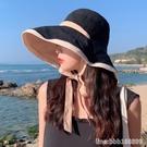 漁夫帽 漁夫帽女夏遮臉防紫外線遮陽帽大帽檐適合圓臉雙面大沿防曬太陽帽 瑪麗蘇
