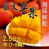 【南紡購物中心】屏東枋山外銷級愛文芒果2.5公斤x3盒(中7-8顆/盒)
