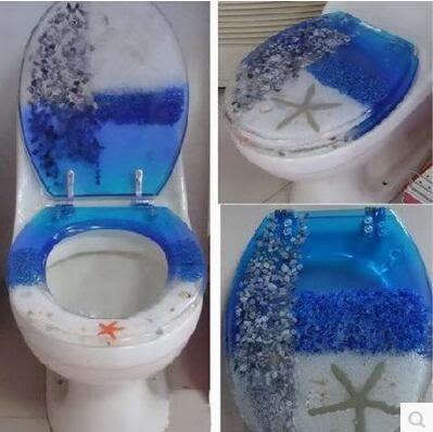 設計師美術精品館歐式正品樹脂馬桶蓋普通坐便蓋廁板彩色海洋OUV通用型20款圖