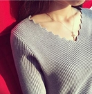波浪V領針織衫 上衣毛衣女修身內搭針織衫短款長袖打底上衣5509T353韓衣裳