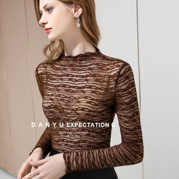 滾邊蕾絲內搭長袖T恤性感透視網紗上衣(三色S-3XL可選)/設計家 AL301356