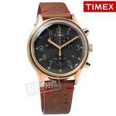 TIMEX 天美時 / TXTW2R96300 /  復古潮流 INDIGLO專利照明 三眼計時 日期 真皮手錶 灰x古銅金框x咖啡 42mm