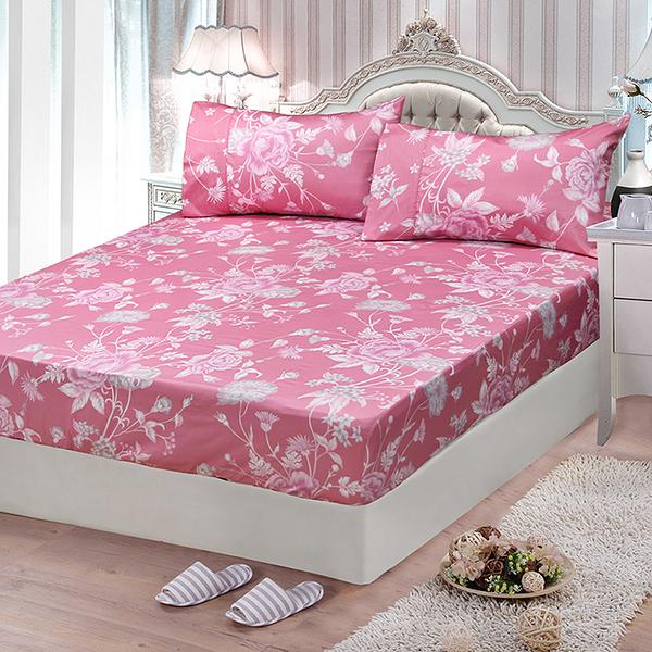 【FITNESS】精梳棉雙人加大床包枕套三件組-粉妝輕抹(粉)_TRP多利寶