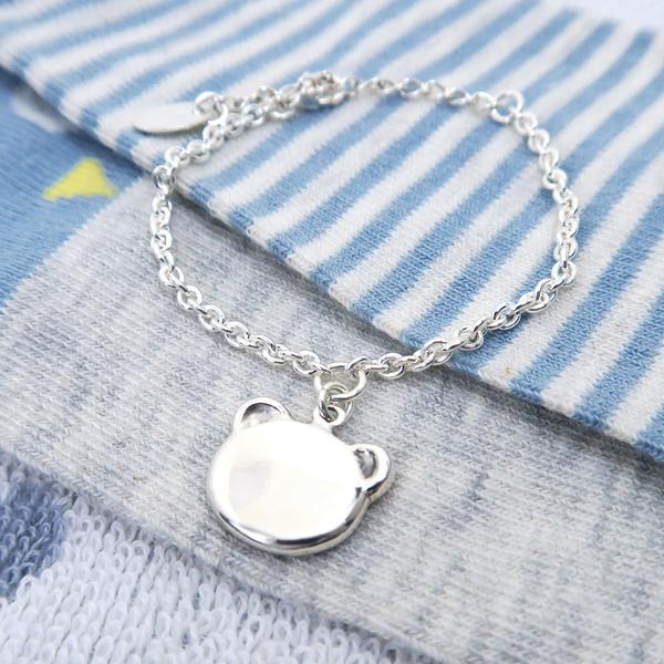 活力小熊-刻字款925純銀兒童手鍊 親子銀飾